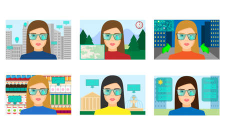 Set of isolated hand drawn women ingreen special glasses playing virtual games in different realities over white background vector illustration. Parallel reality technologies concept