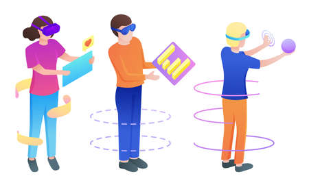 Set of isolated hand drawn young boys and girls in special masks playing virtual games and communicating over white background vector illustration. Parallel reality technologies concept 向量圖像
