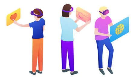 Set of isolated hand drawn young boys and girls in special masks playing virtual games and communicating on displays over white background vector illustration. Parallel reality technologies concept 向量圖像