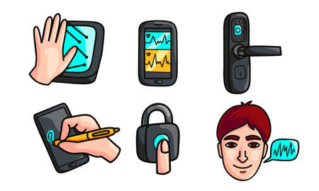 Set of isolated hand drawn modern devices for scanning and monitoring over white background vector illustration. New modern technologies concept