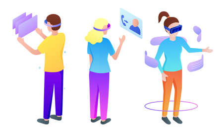 Set of isolated hand drawn young boys and girls in special masks playing virtual games, communicating and working over white background vector illustration. Parallel reality technologies concept 向量圖像