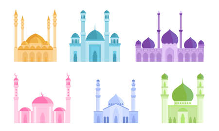 Collection set of colorful mosque Islamic holiest worship buildings. Mosque in different colors facade view concept. Isolated icons set illustration on a white background in cartoon style.