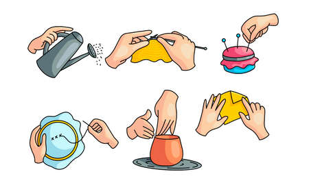 Collection set of human hands doing various hobbies crafts. Sewing, pottery, hand cross-stitch, watering with a can, origami. Isolated icons set illustration on a white background in cartoon style.