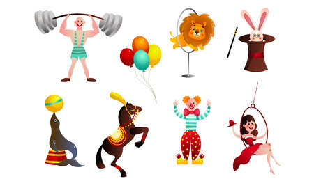 Collection set of funny circus animals, balloons, strongman, girl, clown, magic hat, fairy wand. Circus show elements concept. Isolated icons set illustration on a white background in cartoon style. 일러스트