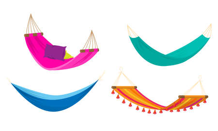 Collection set of four various types of colorful rope hammocks. Beach or outdoor hammock for resting concept. Isolated vector icons set illustration on a white background in cartoon style.