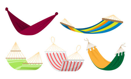 Collection set of different types of colorful rope hammocks. Beach or outdoor hammock for resting concept. Isolated vector icons set illustration on a white background in cartoon style.