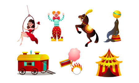 Collection set of funny circus animals, tent, girl, clown, trailer, horse,fur seal. Circus show elements concept. Isolated icons set illustration on a white background in cartoon style.