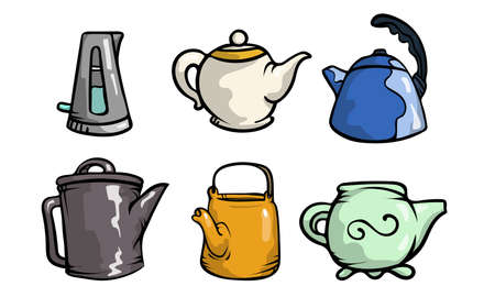 Set of isolated hand drawn cartoon different shapes and colors of teapots over white background vector illustration. Tea drinking ceremony concept