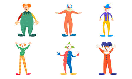 Set of isolated hand drawn clowns in colorful costumes during show over white background vector illustration. Illustration for children books and cartoons concept Ilustrace
