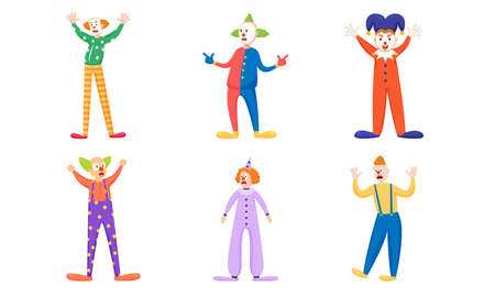 Set of isolated hand drawn happy and angry clowns in colorful costumes during show over white background vector illustration. Illustration for children books and cartoons concept
