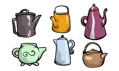 Set of isolated hand drawn different shapes and colors of teapots over white background vector illustration. Tea drinking ceremony concept