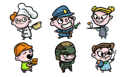 Set of isolated hand drawn cute boys and girls in costumes playing different jobs over white background vector illustration. Illustration for children books and cartoons concept