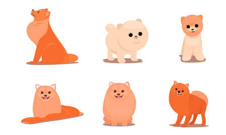 Set of isolated hand drawn cute funny friendly brown fluffy dogs in different poses doing everyday things over white background vector illustration. Happy children books illustrations concept Illustration