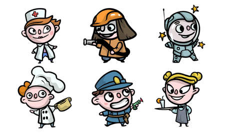 Set of isolated hand drawn boys and girls in costumes playing different jobs over white background vector illustration. Illustration for children books and cartoons concept