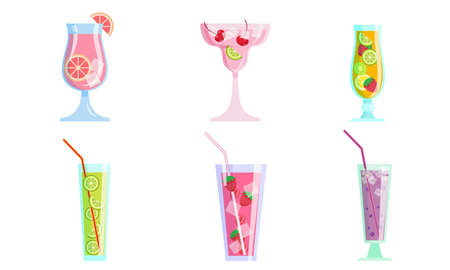 Set of isolated hand drawn fresh summer cocktail drinks with fruits and ice cubes in glasses over white background vector illustration. Summer refreshment and cold drinks illustrations concept Ilustrace