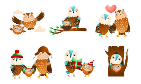 Set of isolated hand drawn cute owl and eagle owl birds families on trees over white background vector illustration. Happy children books illustrations concept