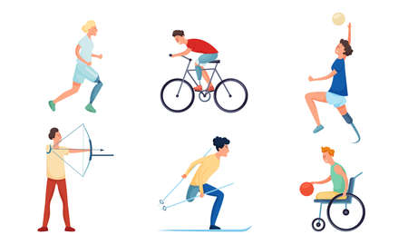 Set of isolated hand drawn happy motivated girls and boys handicapped or disabled doing sports over white background vector illustration. Active happy lifestyle for disabled concept Stock Illustratie