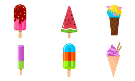 Set of isolated hand drawn sweet summer ice creams s of different shapes over white background vector illustration. Summer refreshment and cold desserts illustrations concept