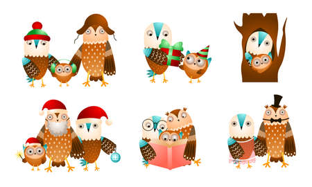 Set of isolated hand drawn cute owl and eagle owl birds families doing everyday things over white background vector illustration. Happy children books illustrations concept