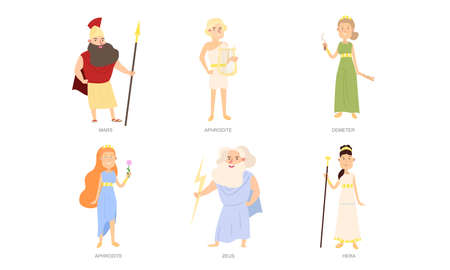 Set of isolated hand drawn Greek gods and goddesses in special traditional costumes over white background vector illustration. Illustration for children books and cartoons concept Vettoriali