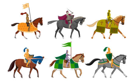 Set of isolated hand drawn knights with flags, shields and swords on horseback over white background vector illustration. Illustration for children books and cartoons concept Vektoros illusztráció