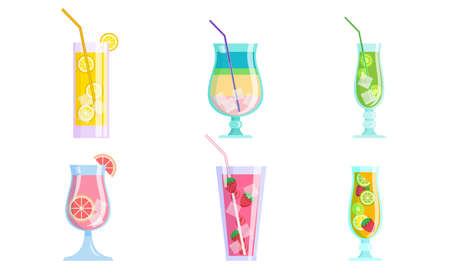 Set of isolated hand drawn fresh summer cocktail drinks with fruits and ice cubes over white background vector illustration. Summer refreshment and cold drinks illustrations concept Ilustrace
