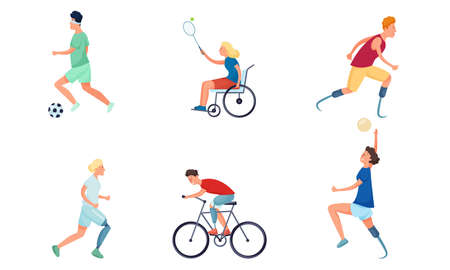 Set of isolated hand drawn girls and boys handicapped or disabled doing sports over white background vector illustration. Active happy lifestyle for disabled concept