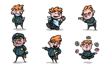 Set of isolated hand drawn boy in military costume playing role of policeman over white background vector illustration. Illustration for children books and cartoons concept 일러스트