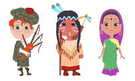 Set of isolated hand drawn happy children wearing different national costumes over white background vector illustration. National clothing and look concept