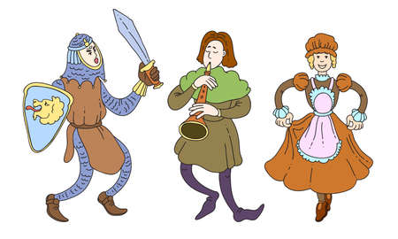 Set of isolated hand drawn knight , troubadour and lady characters in traditional costumes from medieval times over white background vector illustration. Illustration for children books and cartoons