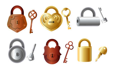 Set of isolated hand drawn different golden and silver locks with their keys over white background vector illustration. Safety and protection concept
