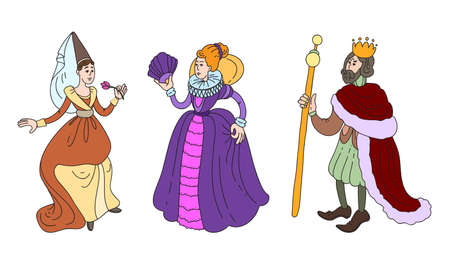Set of isolated hand drawn cute king, queen and maid of honor in special costumes over white background vector illustration. Illustration for children books and cartoons concept