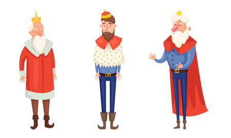 Set of isolated hand drawn kings in special costumes and crowns over white background vector illustration. Illustration for children books and cartoons concept