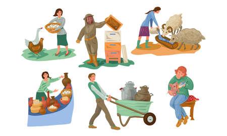 Conjunto de colección de personajes de diferentes personas de agricultores en diversas acciones. Concepto de alimentación de animales de granja. Los iconos aislados establecen la ilustración sobre un fondo blanco en estilo de dibujos animados.