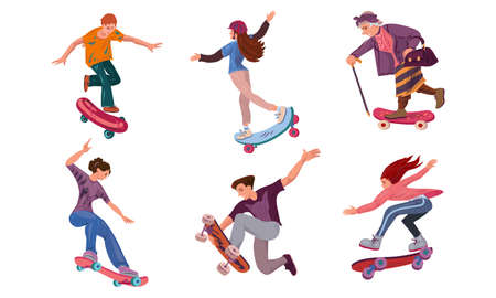 Collection set of different ages people on skateboard in city park. Sport life concept. Isolated icons set illustration on a white background in cartoon style.