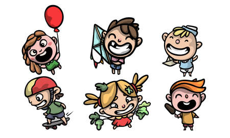 Collection set of cute and funny kids in colorful modern clothes in different situations. Isolated icons set illustration on a white background in cartoon style.
