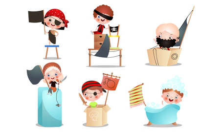 Collection set of different kid characters that play in a pirate game. Isolated icons set illustration on a white background in cartoon style.