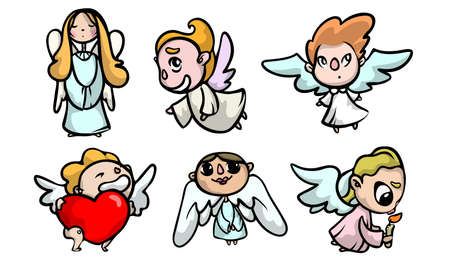 Collection set of cute colorful angel kids with wings in different action situations. Isolated icons set illustration on a white background in cartoon style.