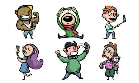 Collection set of various happy smiling people characters doing a selfie. Isolated icons set illustration on a white background in cartoon style.