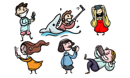 Collection set of funny happy smiling people characters doing a selfie. Isolated icons set illustration on a white background in cartoon style.