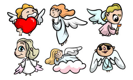 Collection set of cute beautiful angel kids with wings in different action situations. Isolated icons set illustration on a white background in cartoon style.