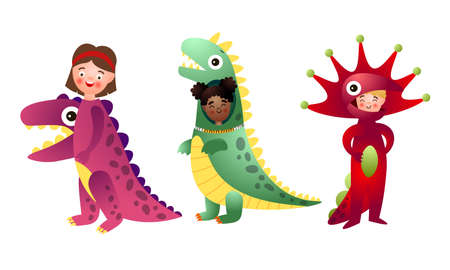 Collection set of funny happy smiling boys and girls in colorful dinosaur costumes. Isolated icons set illustration on a white background in cartoon style.