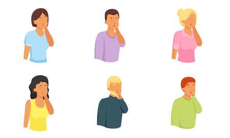 Set di uomini e donne disegnati a mano isolati che esprimono dolore, disperazione, frustrazione su sfondo bianco illustrazione vettoriale. Concetto di diversità delle emozioni