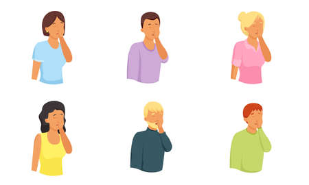 Set of isolated hand drawn men and women expressing grief, despair, frustration over white background vector illustration. Emotions diversity concept