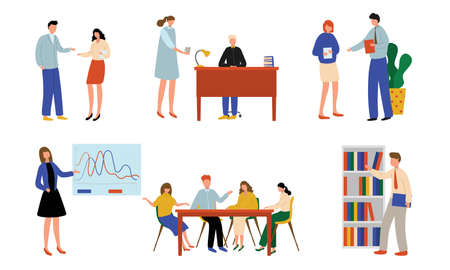 Set of isolated hand drawn business men and women working in office during working day over white background vector illustration. Business people in office concept