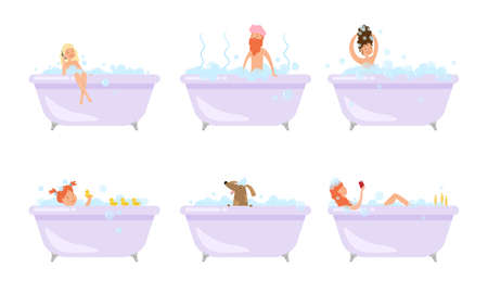 Set of isolated hand drawn happy men, women and dog taking bath with bubbles and relaxing over white background vector illustration. Enjoying bath concept