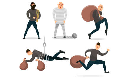 Set of isolated hand drawn men robbers with sacks of money and in prison over white background vector illustration. Crime and punishment concept Vetores