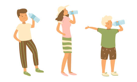 Set of isolated hand drawn children and woman standing and drinking pure water over white background vector illustration. Happy childhood concept Banco de Imagens - 139535760