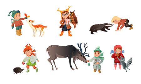 Set of isolated hand drawn children boys and girls in winter clothing petting, feeding and playing with wild animals over white background vector illustration. Happy childhood concept