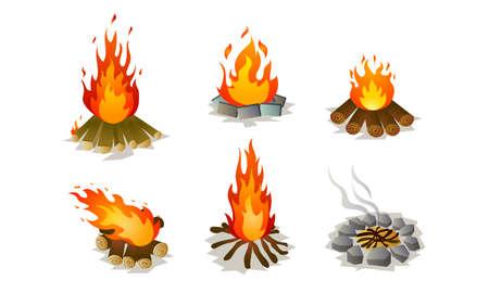 Ensemble de feu de joie isolé dessinés à la main sur la nature sur illustration vectorielle fond blanc. Concept d'illustrations de méditation et de détente